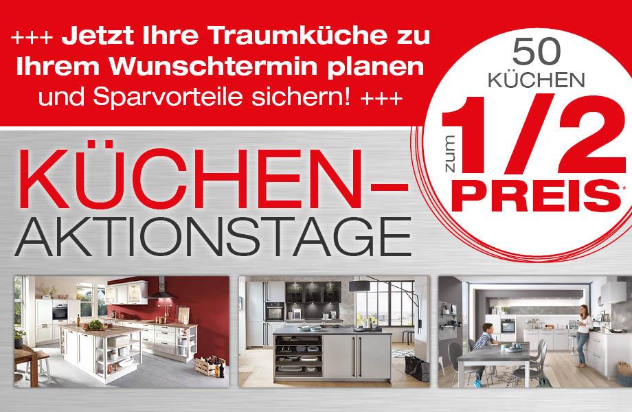 Banner Küchen-Aktionstage, jede Planungsküche 1/2 Preis